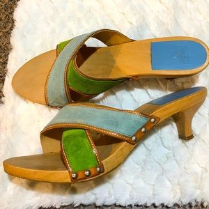 ✅Coach slides blue & green suede